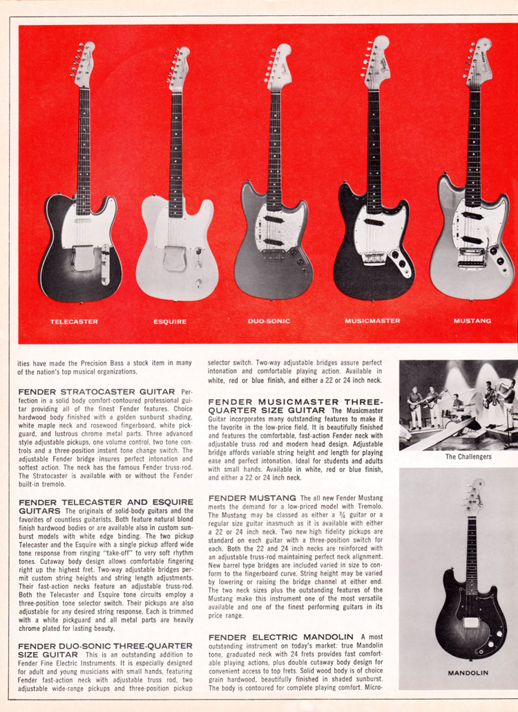 1965 1966 Fender guitar catalog page 4 - Fender Telecaster, Esquire, Duo-Sonic, Musicmaster and Mustang