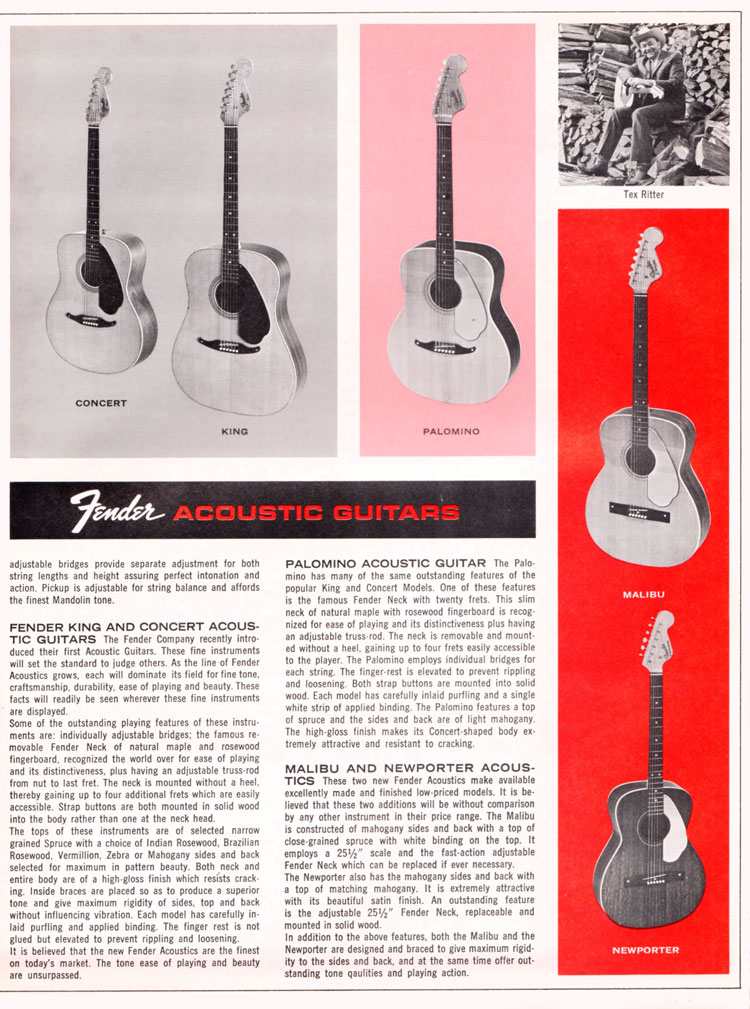 1965 1966 Fender guitar catalog page 5 - Fender King, Concert, Palamino, Malibu and Newporter