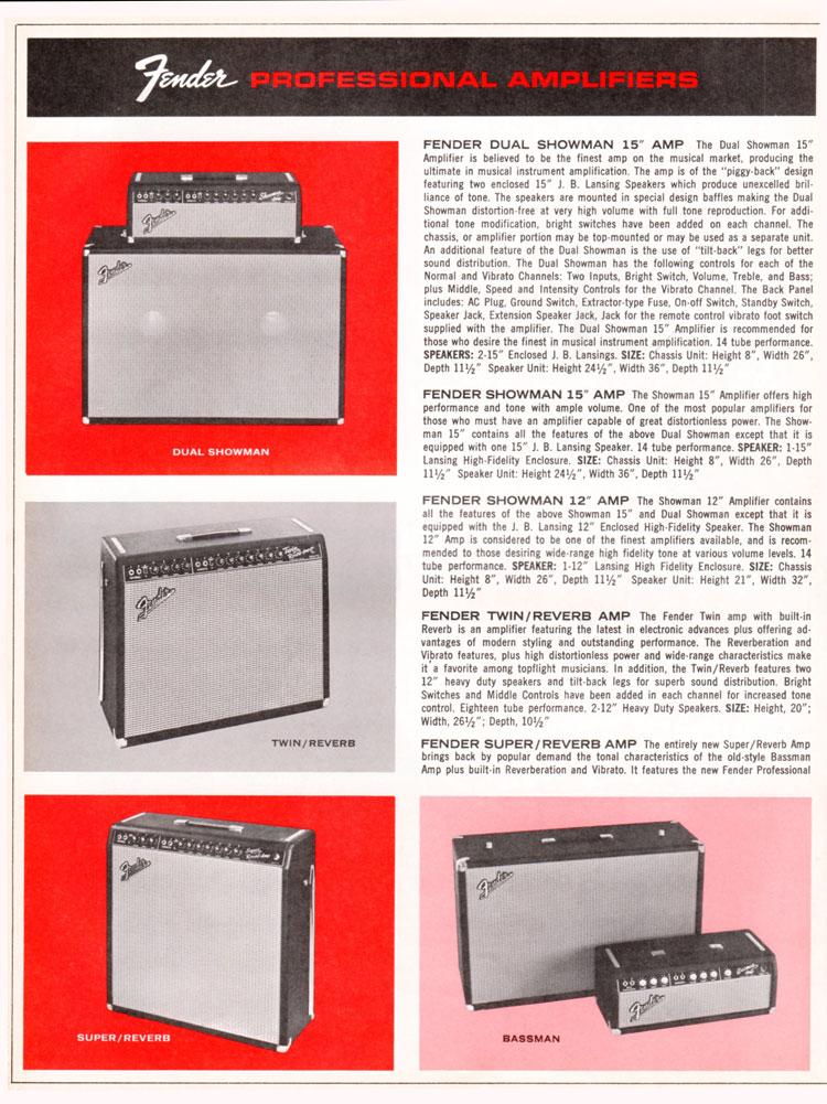 1965 1966 Fender guitar catalogue page 6 - Fender Showman, Dual Showman, Twin/Reverb and Super/Reverb amplifiers