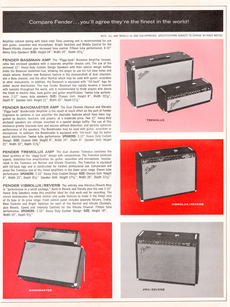 1965 1966 Fender guitar catalogue page 7 - Fender Bassman, Bandmaster, Tremolux, Vibrolux/Reverb amplifiers