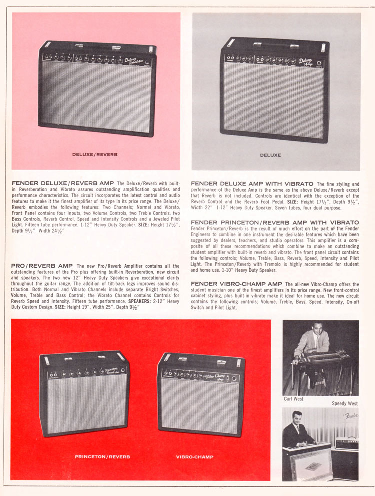 1965 1966 Fender guitar catalog page 8 - Fender Deluxe, Deluxe/Reverb, Pro/Reverb, Princeton/Reverb, Vibro Champ amplifiers