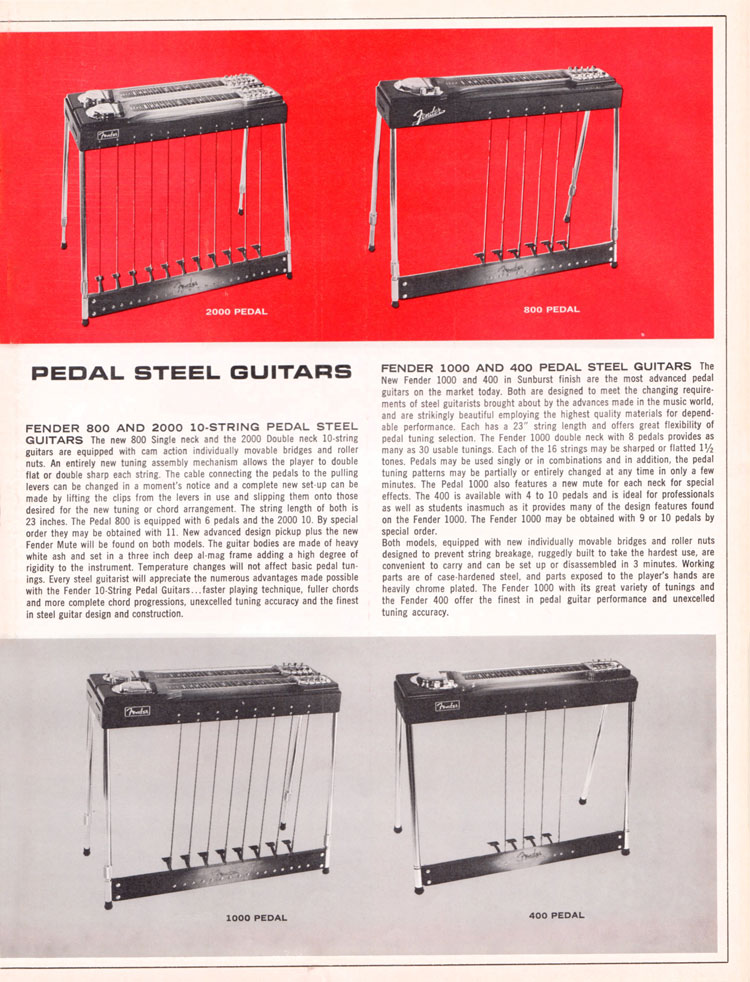 1965 1966 Fender guitar catalog page 9 - Fender 400, 800, 1000 and 2000 pedal steel guitars