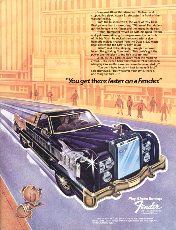 Fender advertisement (1974) You Get There Faster on a Fender