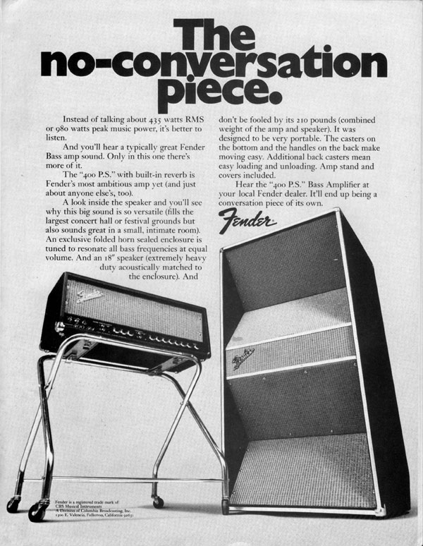 Fender advertisement (1971) The No-Conversation Piece