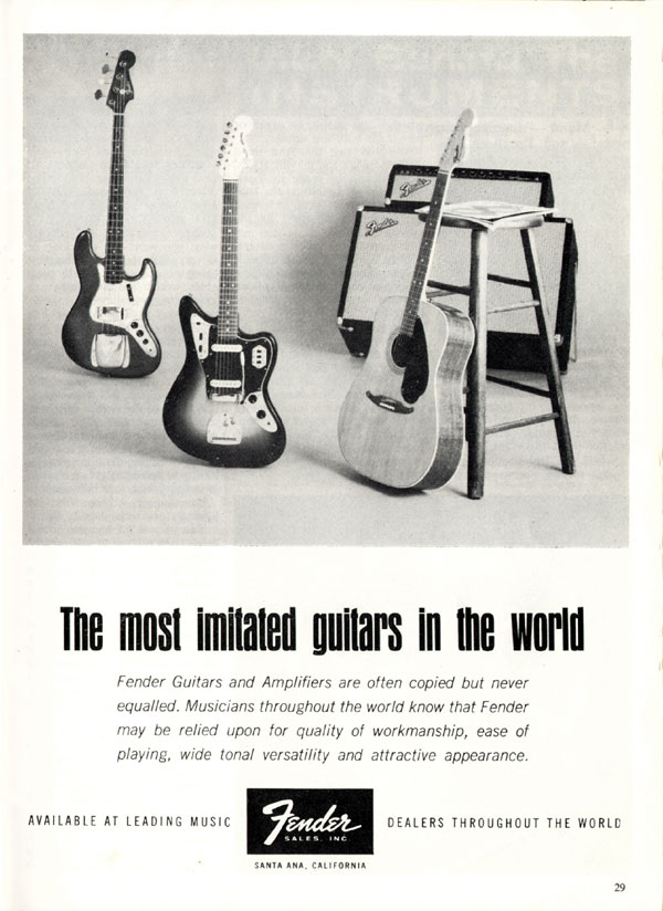 Fender advertisement (1965) The Most Imitated Guitars In The World