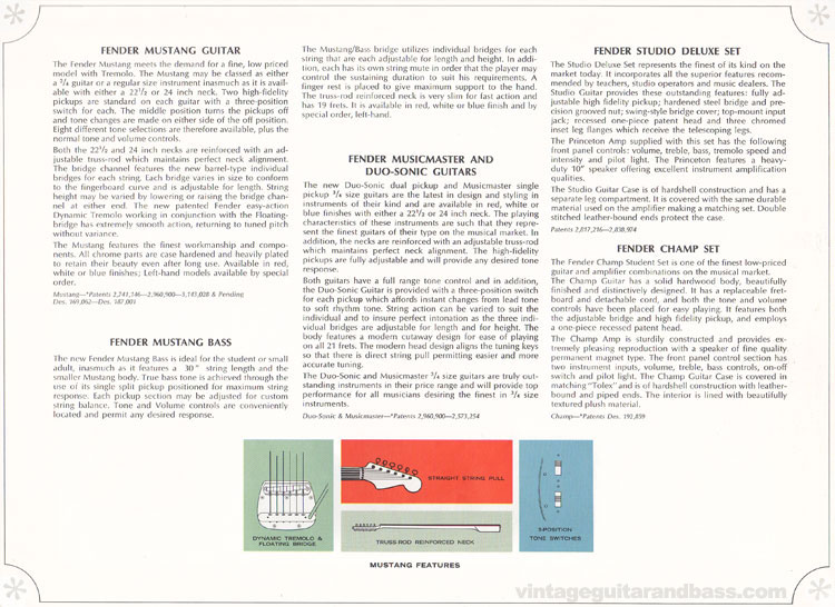 Descriptions of the Fender Mustang, Musicmaster, Duo Sonic, Mustang bass, Champ and Studio Deluxe sets - 1966-67 Fender catalogue - page 14