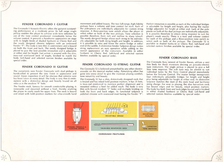 Fender Coronado I, II, XII and Coronado bass - 1966-67 Fender catalogue - page 29