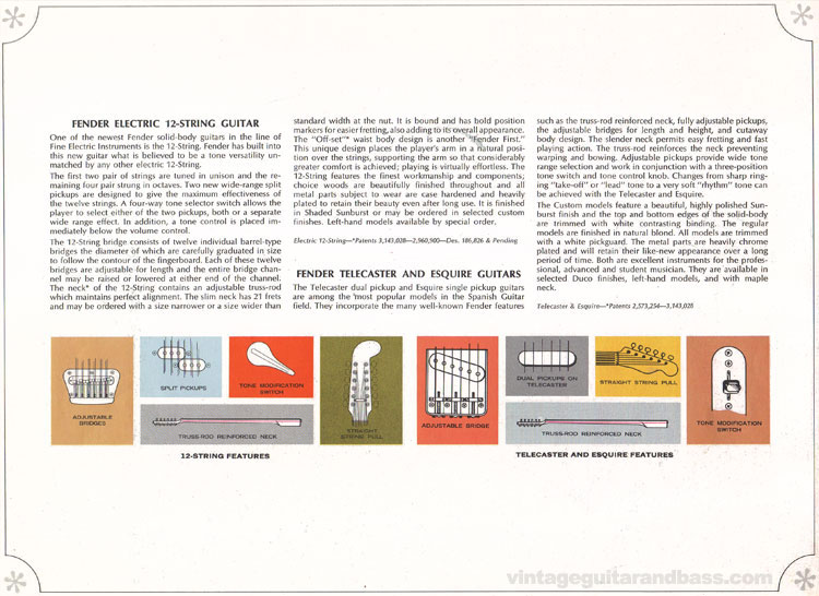 Fender 12-String, Telecaster and Esquire - 1966-67 Fender catalogue - page 9