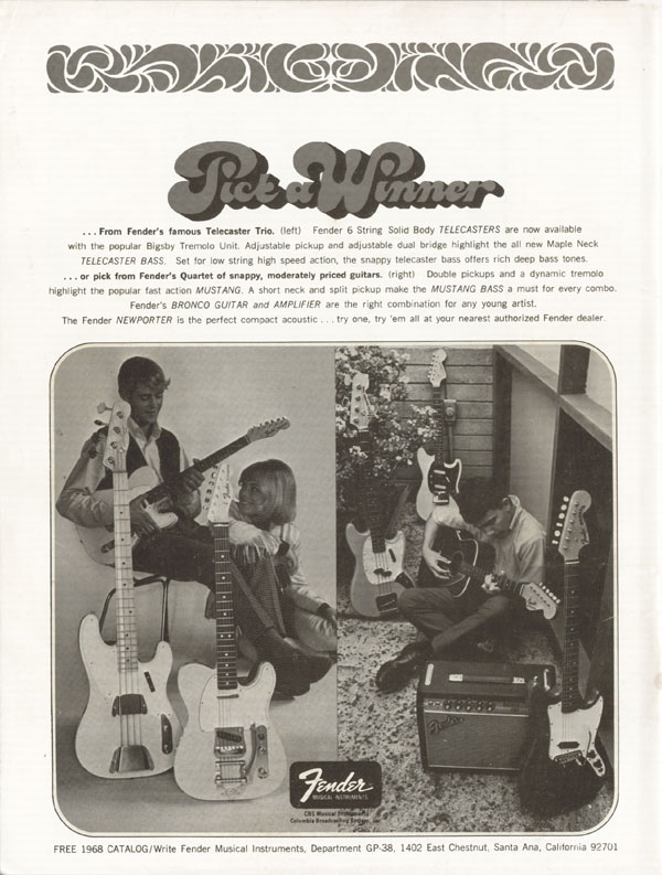 Fender advertisement (1968) Pick A Winner