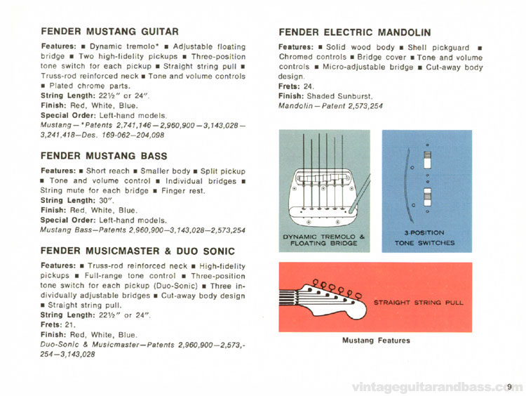 Fender Mustang, Mustang Bass, Duo Sonic II, Mandolin, Musicmaster - 1968 Fender catalogue - page 11
