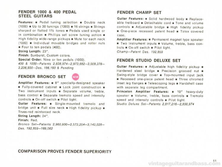 Fender Pedal 400, Studio Deluxe set, Bronco set, Champ set - 1968 Fender catalogue - page 13