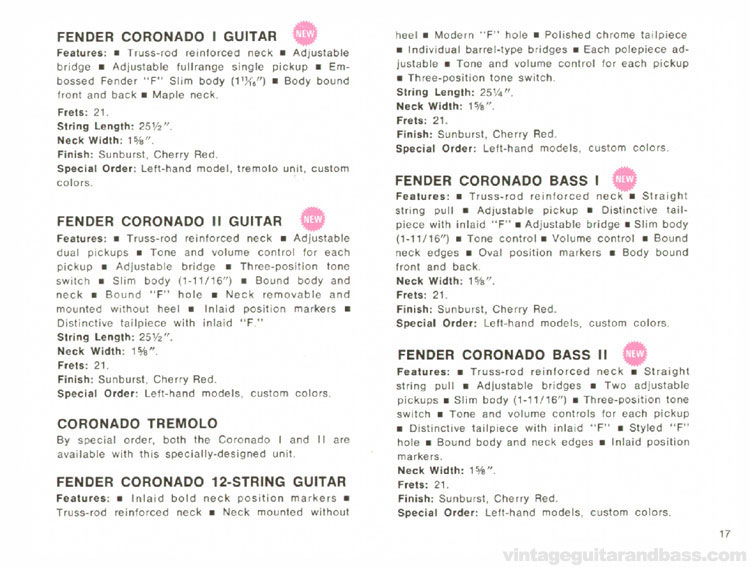 Fender Coronado I, II and XII and Coronado Bass I and II - 1968 Fender catalogue - page 19