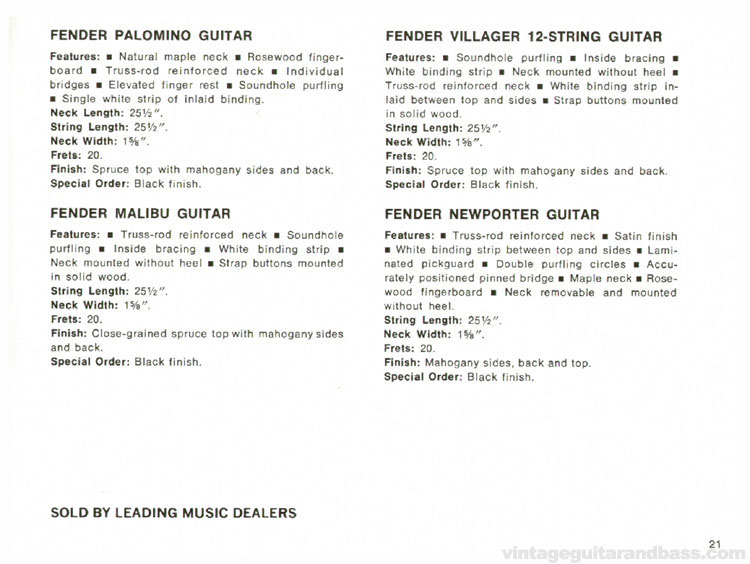 Fender Palomino, Malibu, Villager and Newporter acoustic guitars - 1968 Fender catalogue - page 23
