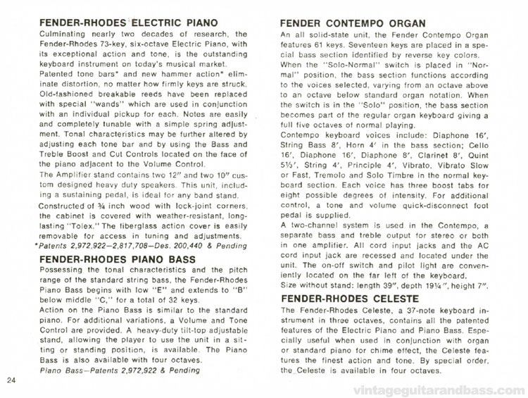 Fender-Rhodes Piano, Piano Bass, Celeste and Fender Contempo Organ - 1968 Fender catalogue - page 26