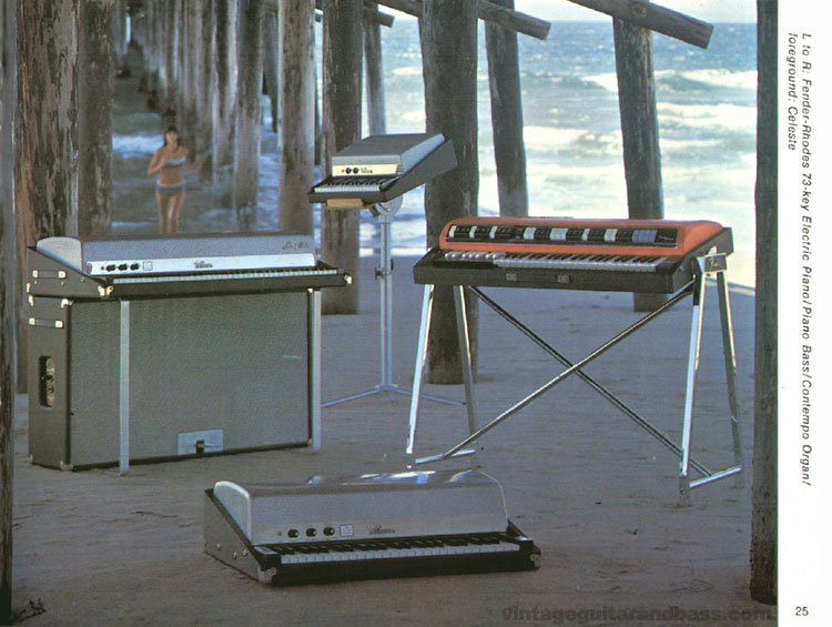 Fender-Rhodes Piano, Piano Bass, Celeste and Fender Contempo Organ - 1968 Fender catalogue - page 27
