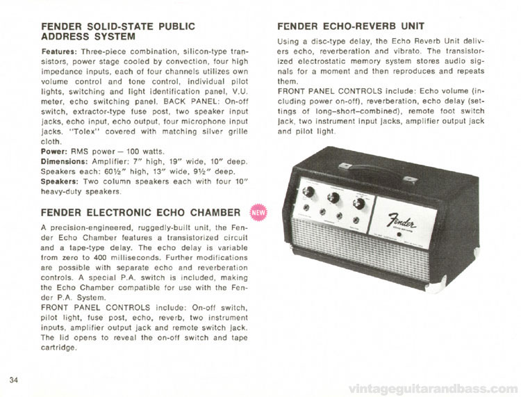 <TITLE>Fender Solid State PA, Electronic Echo Chamber, Echo Reverb - 1968 Fender catalogue - page 36