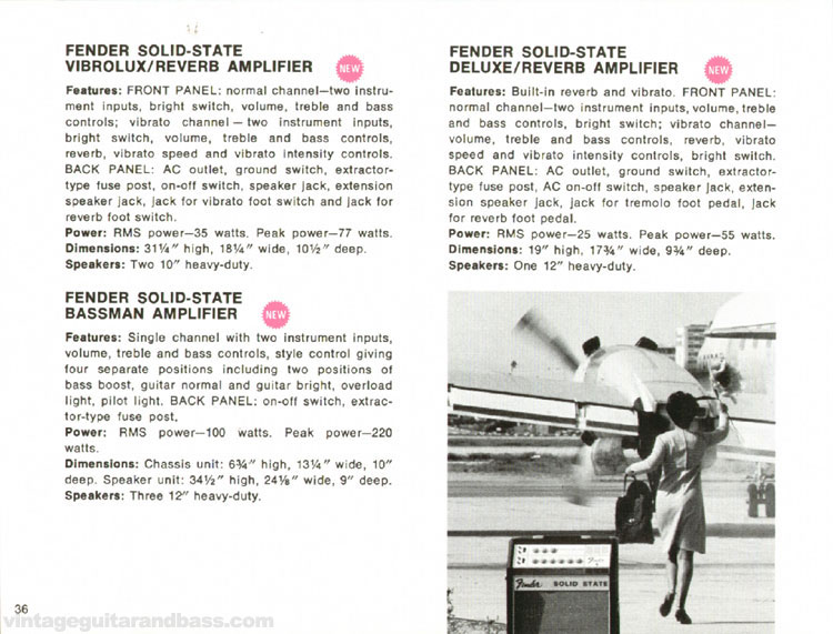 Fender Solid-State Vibrolux, Deluxe and Bassman amplifiers - 1968 Fender catalogue - page 38