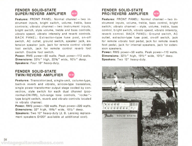 Fender Solid-State Super/Reverb, Pro/Reverb, Twin/Reverb Amplifiers - 1968 Fender catalogue - page 40