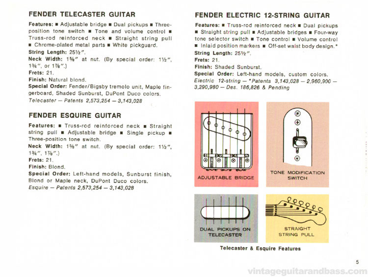 Fender Telecaster, 12-string and Esquire - 1968 Fender catalogue - page 7
