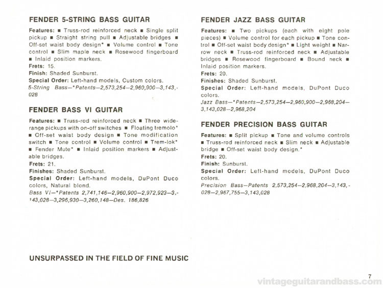 Fender Bass V, Bass VI, Jazz Bass and Precision Bass - 1968 Fender catalogue - page 9
