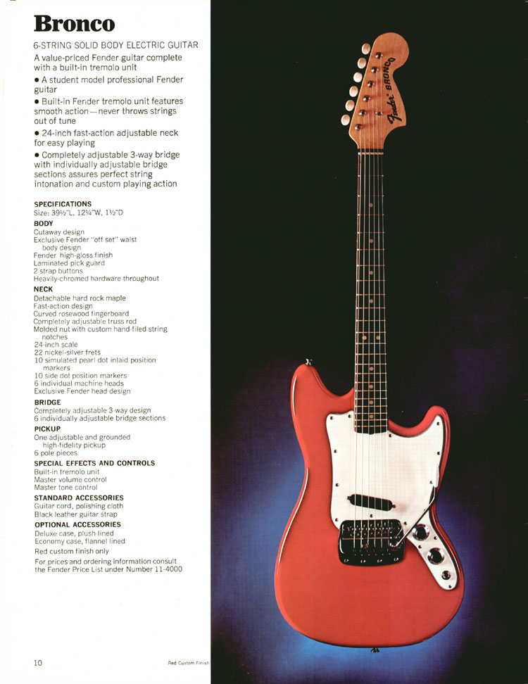 Fender Bronco - 1970 Fender catalogue - page 10