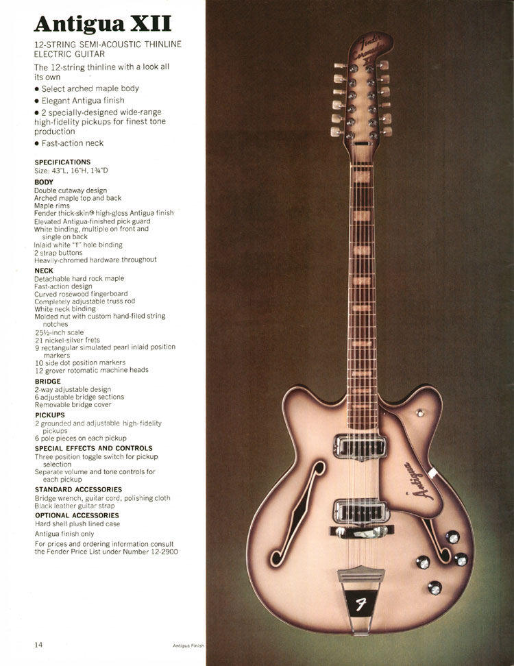 Fender Coronado / Antigua XII - 1970 Fender catalogue - page 14