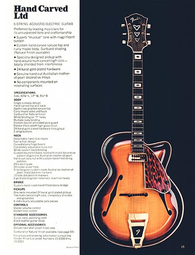 1970 Fender guitar and bass catalogue - page 15