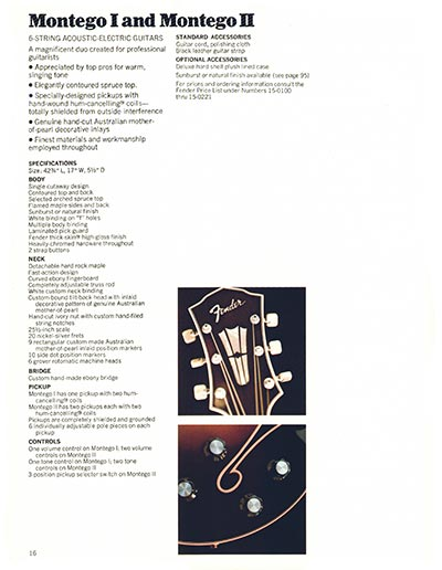 1970 Fender guitar and bass catalogue - page 16