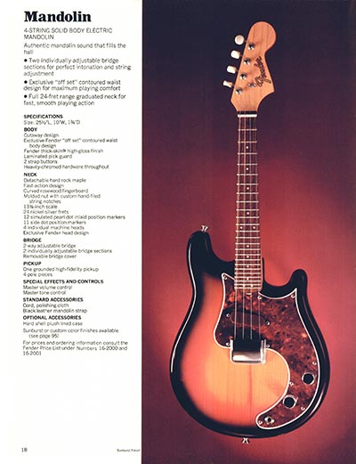 1970 Fender guitar and bass catalogue page 18
