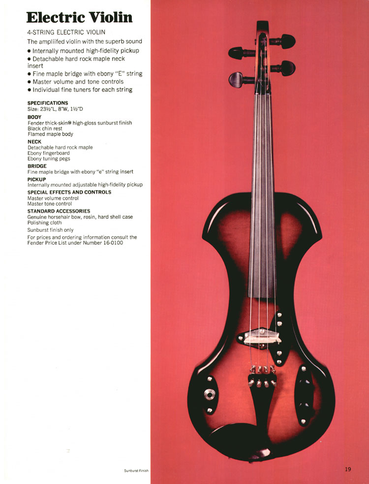 Fender Electric Violin - 1970 Fender catalogue - page 19
