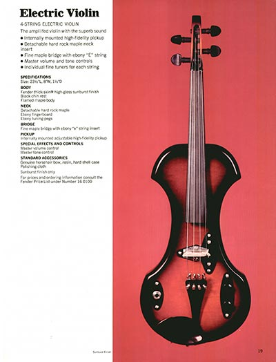 1970 Fender guitar and bass catalogue page 19