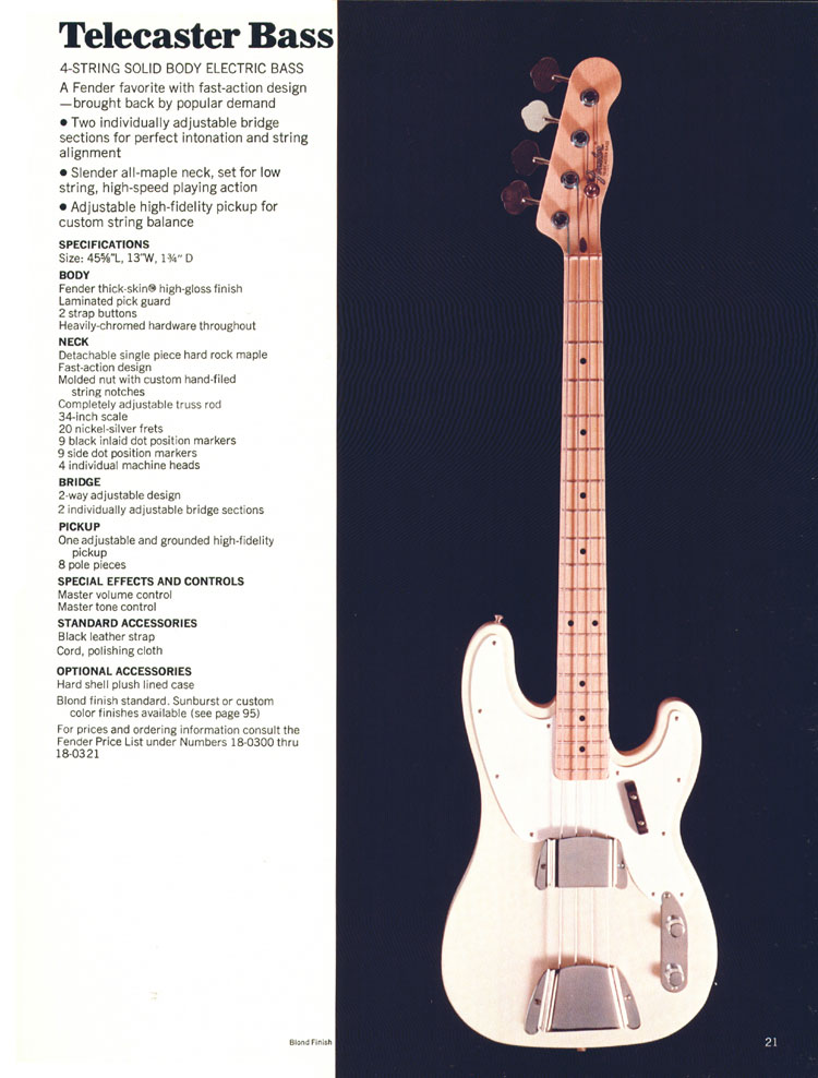 Fender Telecaster Bass - 1970 Fender catalogue - page 21