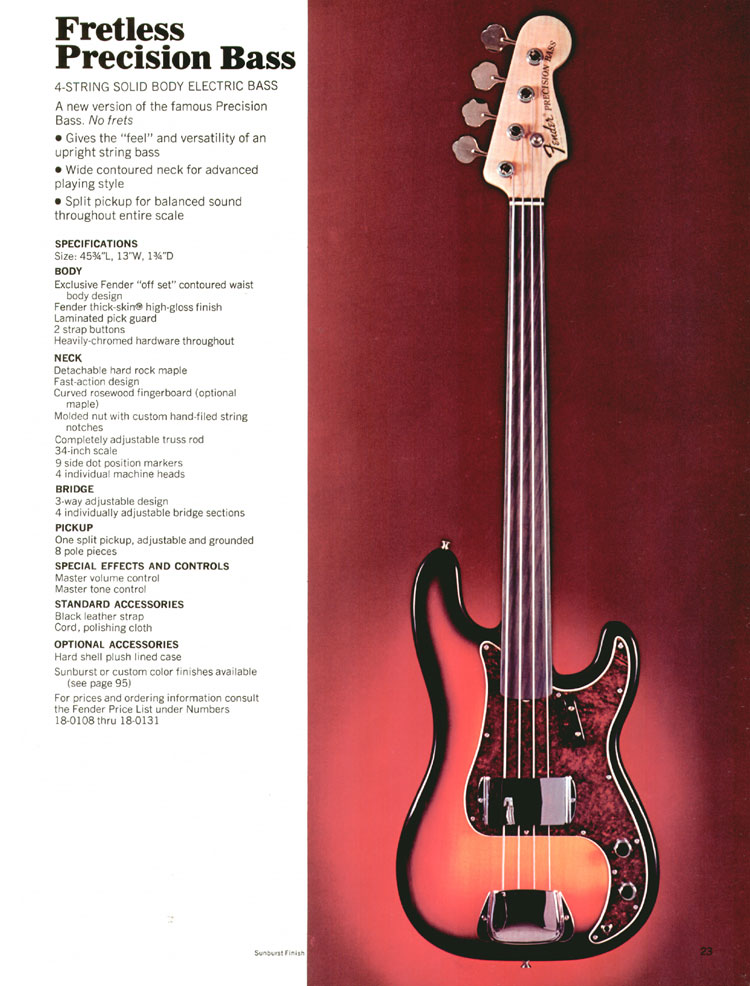 Fender Fretless Precision Bass- 1970 Fender catalogue - page 23