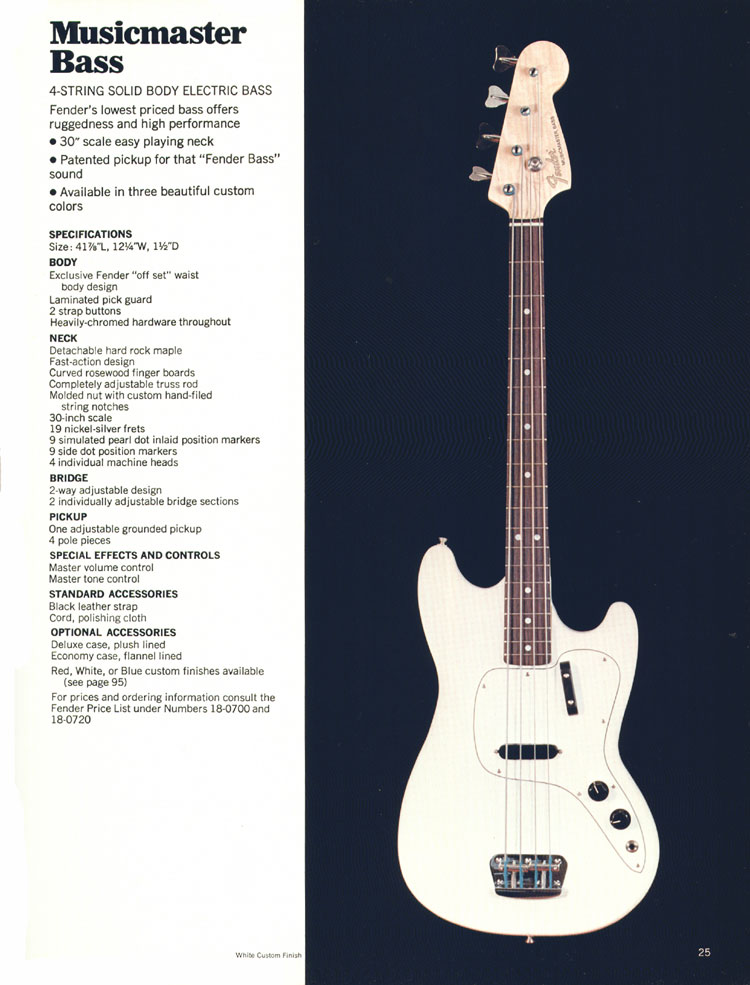 Fender Musicmaster Bass - 1970 Fender catalogue - page 25