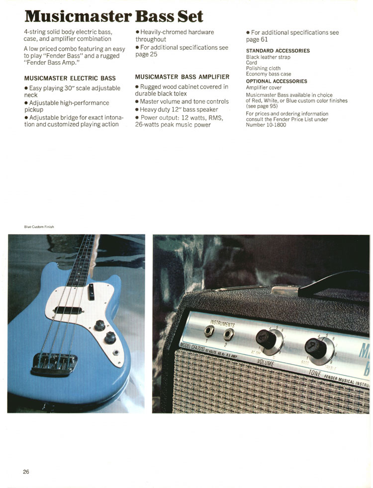 Fender Musicmaster Bass Set - 1970 Fender catalogue - page 26