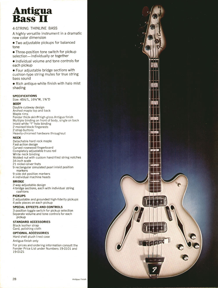 Fender Antigua / Coronado Bass II - 1970 Fender catalogue - page 28