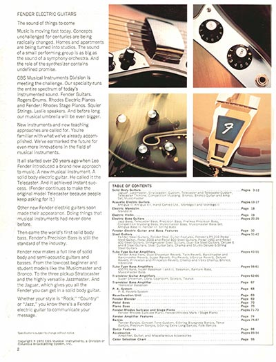 1970 Fender guitar and bass catalogue - page 2