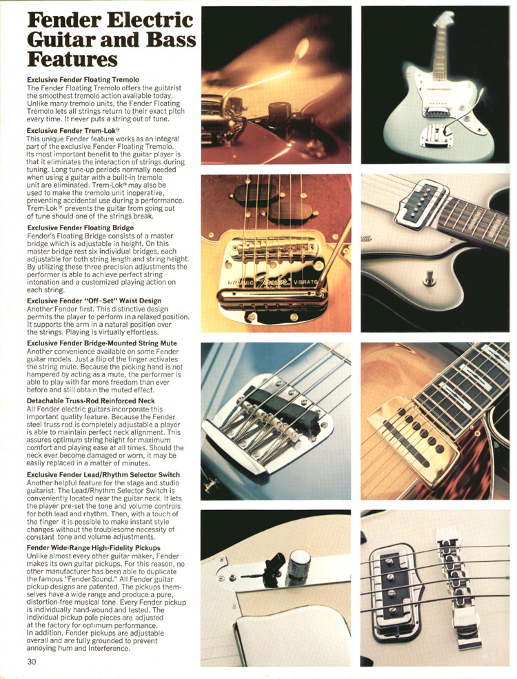 Electric Guitar and Bass Features - 1970 Fender catalogue - page 30