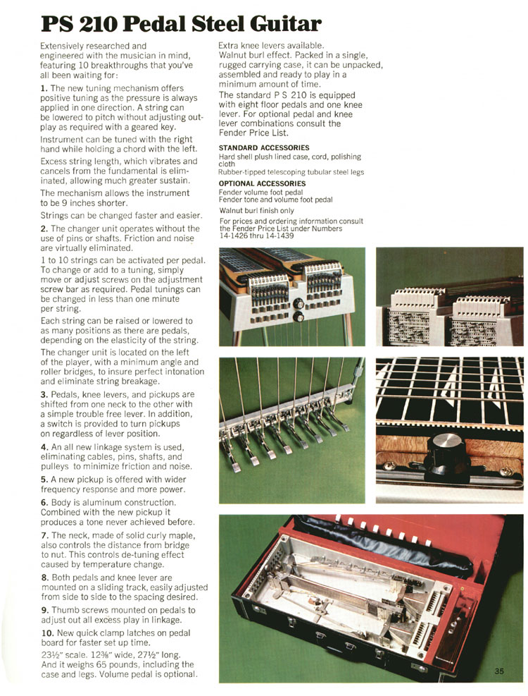 Fender PS210 Steel Guitar - 1970 Fender catalogue - page 35