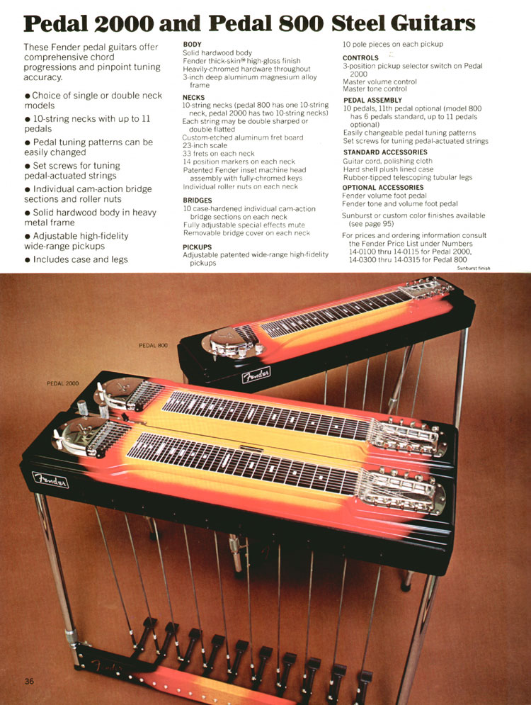 Fender Pedal 2000 and Pedal 800 Steel Guitars - 1970 Fender catalogue - page 36