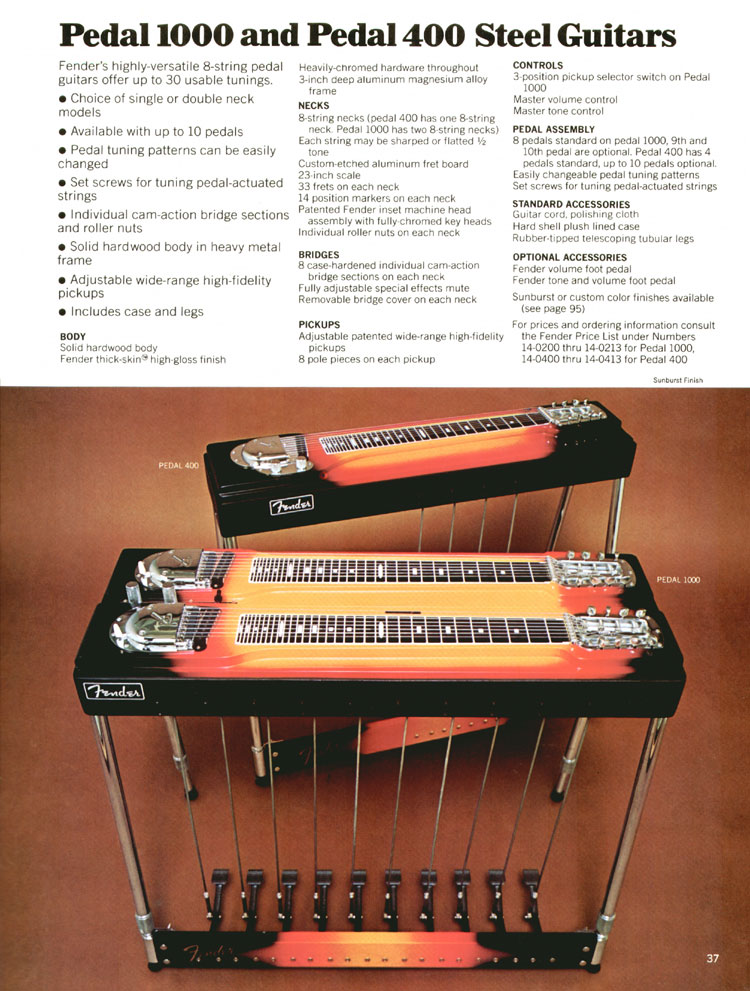 Fender Pedal 1000 and Pedal 400 Steel Guitars - 1970 Fender catalogue - page 37