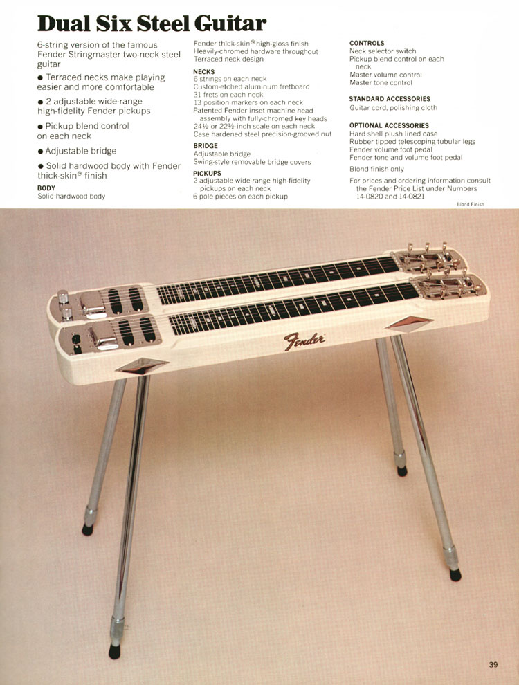 Dual Six Steel Guitar - 1970 Fender catalogue - page 39
