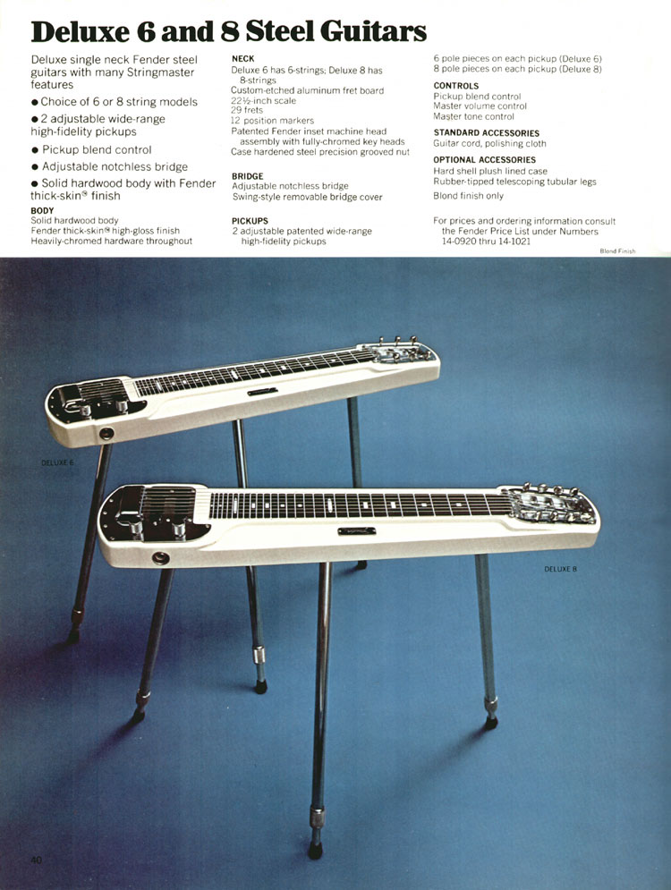 Deluxe 6 and Deluxe 8 Steel Guitars - 1970 Fender catalogue - page 40