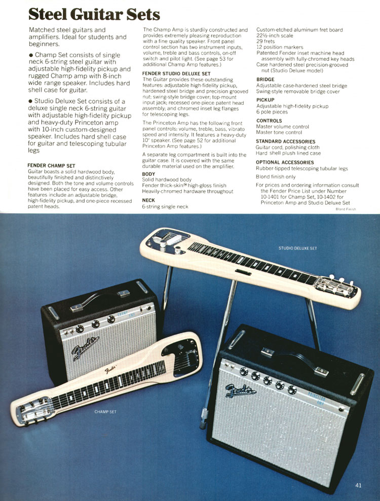 Fender Steel Guitar Sets - 1970 Fender catalogue - page 41