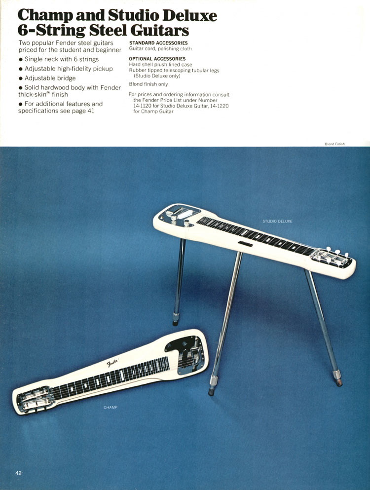 Fender Champ and Studio Deluxe Steel Guitars - 1970 Fender catalogue - page 42