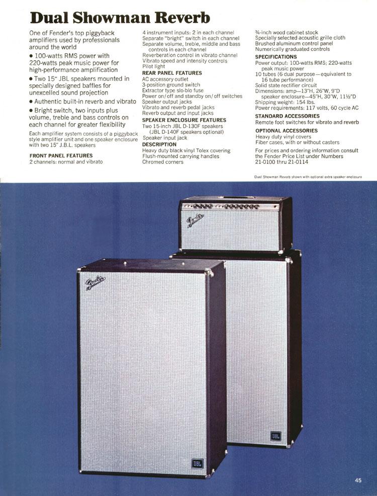 Fender Dual Showman Reverb - 1970 Fender catalogue - page 45