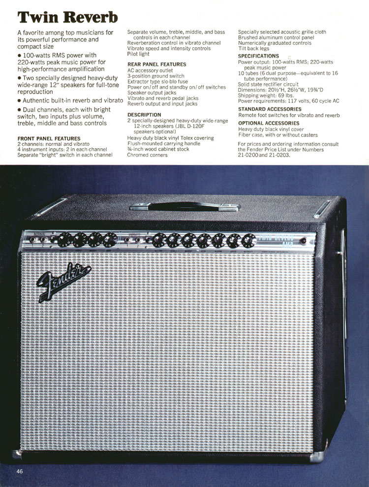 Fender Twin Reverb - 1970 Fender catalogue - page 46