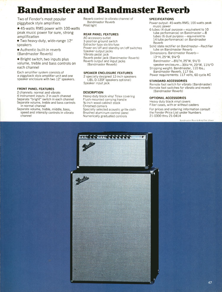 Fender Bandmaster and Bandmaster Reverb - 1970 Fender catalogue - page 47