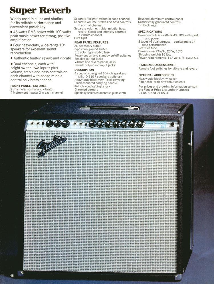 Fender Super Reverb - 1970 Fender catalogue - page 48