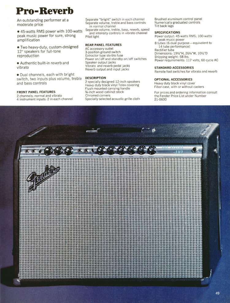 Fender Pro-Reverb - 1970 Fender catalogue - page 49